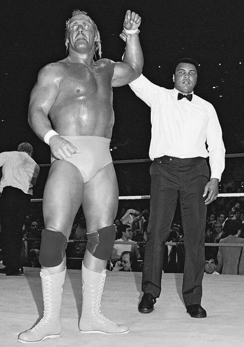 Happy Birthday to Hulk Hogan who turns 66 years old today. Here he is with Muhammad Ali.