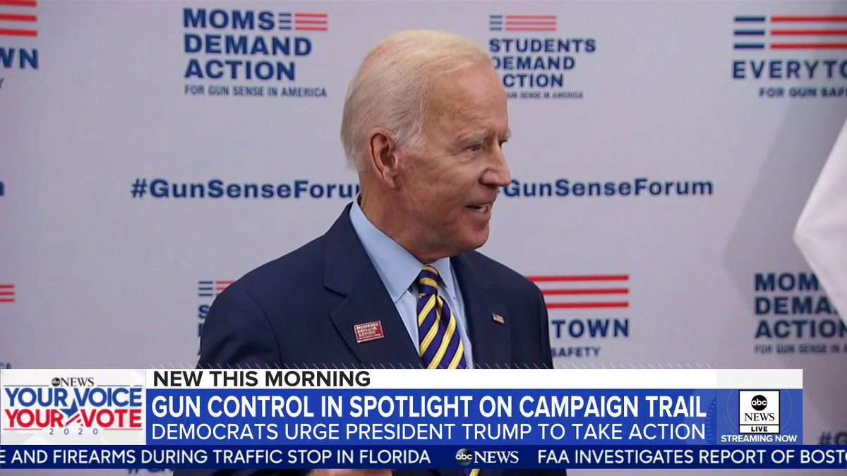 In downtown Des Moines, Iowa, 2020 presidential candidates pushed for universal background checks at a rally with gun-control advocates. @marykbruce has the story. http://gma.abc/2KCMYWw