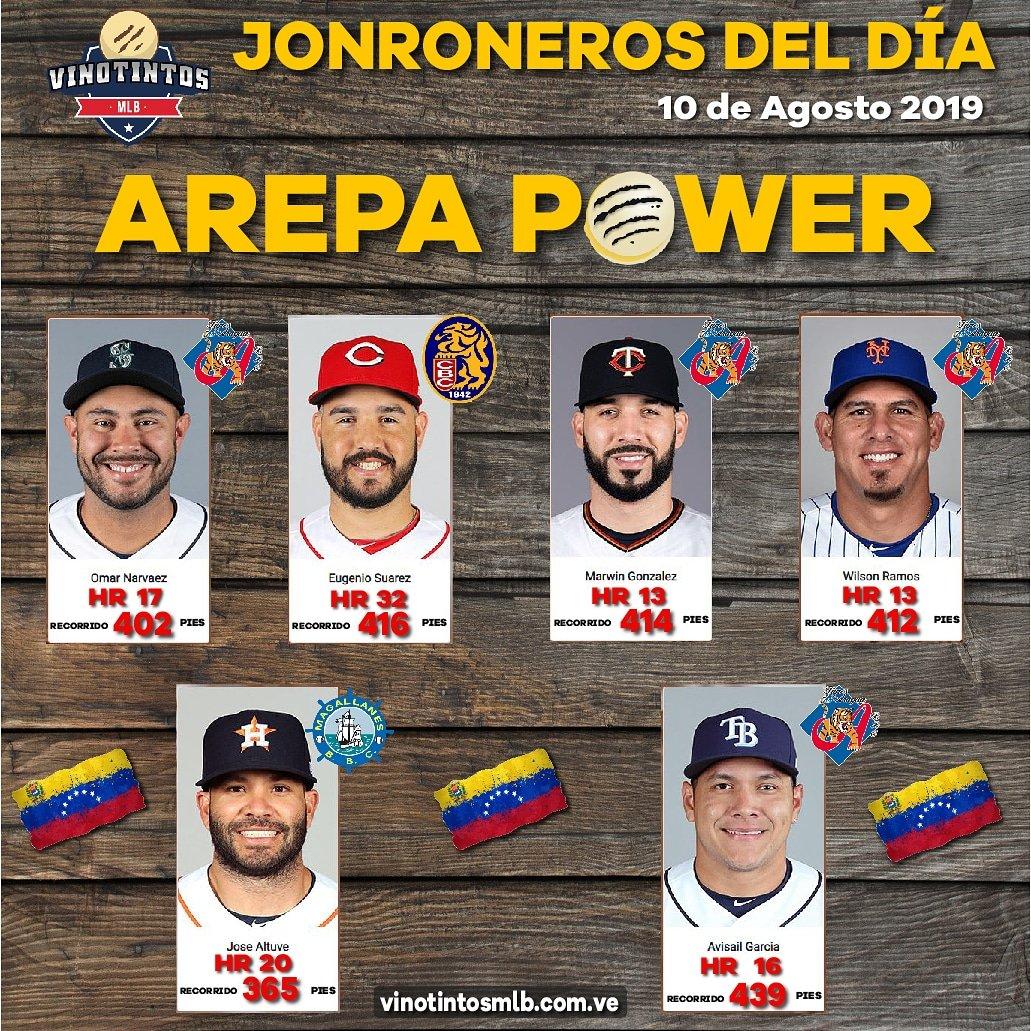 🇻🇪💪😎⚾AREPA POWER DEL DÍA 10 de AGOSTO ⚾😎💪🇻🇪 Aquí los de #Venezuela que la Sacaron del parque el día de ayer en la #MLB. Mencion especial #Eugenio #Suárez que sigue su camino a los 40 Hr. OPINIONES