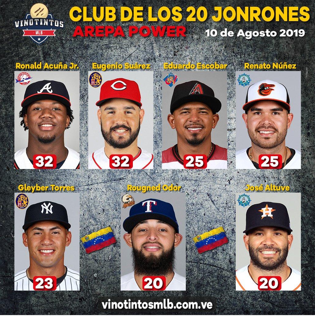 🇻🇪💪😎⚾CLUB 20 O MÁS #JONRONES AREPA POWER ⚾😎💪🇻🇪 Durante esta temporada del 2019, estos son los de #VENEZUELA que han sacado 20 o más #vuelacercas en la #MLB; ya son 7 peloteros, vamos por el record de una temporada que se logró en el 2016 con 10 Jugadores.