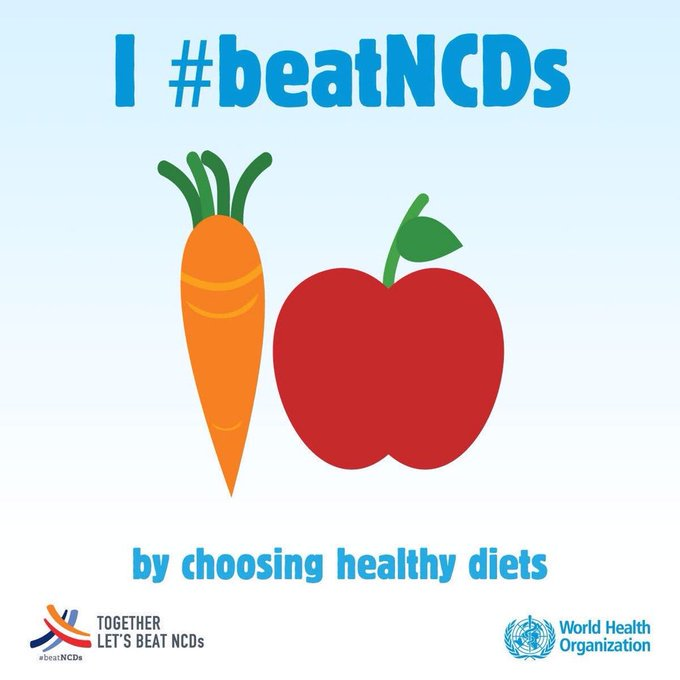 @WHOWPRO @pahowho @WHOAFRO @WHOSEARO @WHO_Europe @WHOEMRO You can #BeatNCDs by choosing healthy diets 🥒🍊🥗🍎🥦🥑🥕