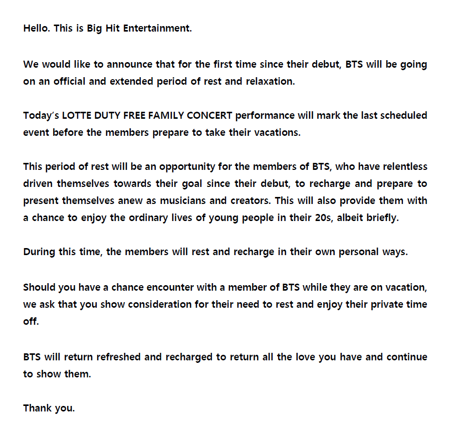Big Hit Entertainment Notice of BTS Vacation