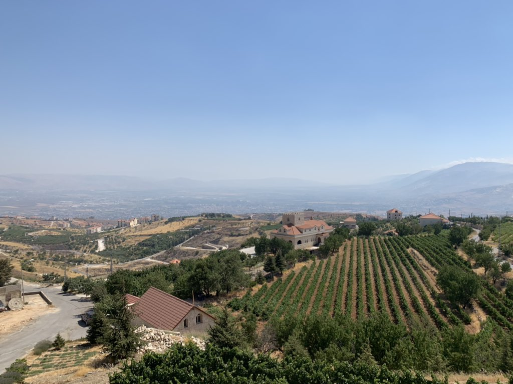 Today's lunch place had this beautiful view of the Bekaa Valley, Lebanon