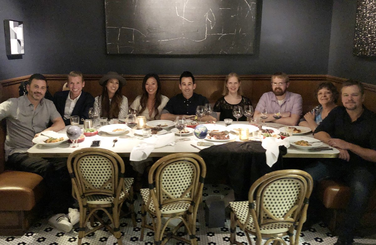 "Despite his presence, we had a great dinner at APL Restaurant @AdamPerryLang with the @Omaze winners of ""An Uncomfortable Meal with Jimmy Kimmel & Matt Damon"" which raised a LOT of money to benefit three great charities: @NEXTforAUTISM @RED & @Water"