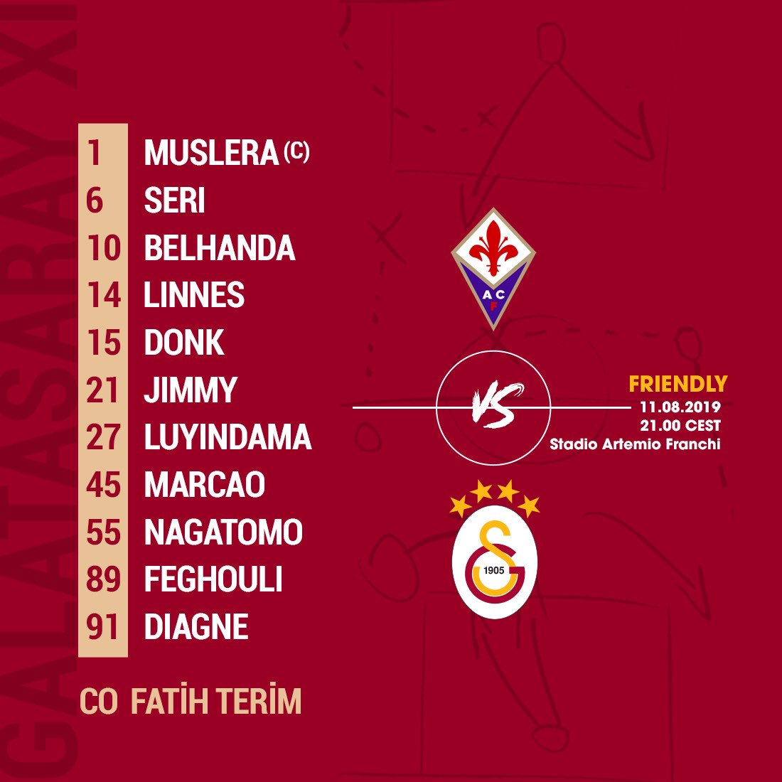 Confirmed Galatasaray lineup for the night. #FIOvGS