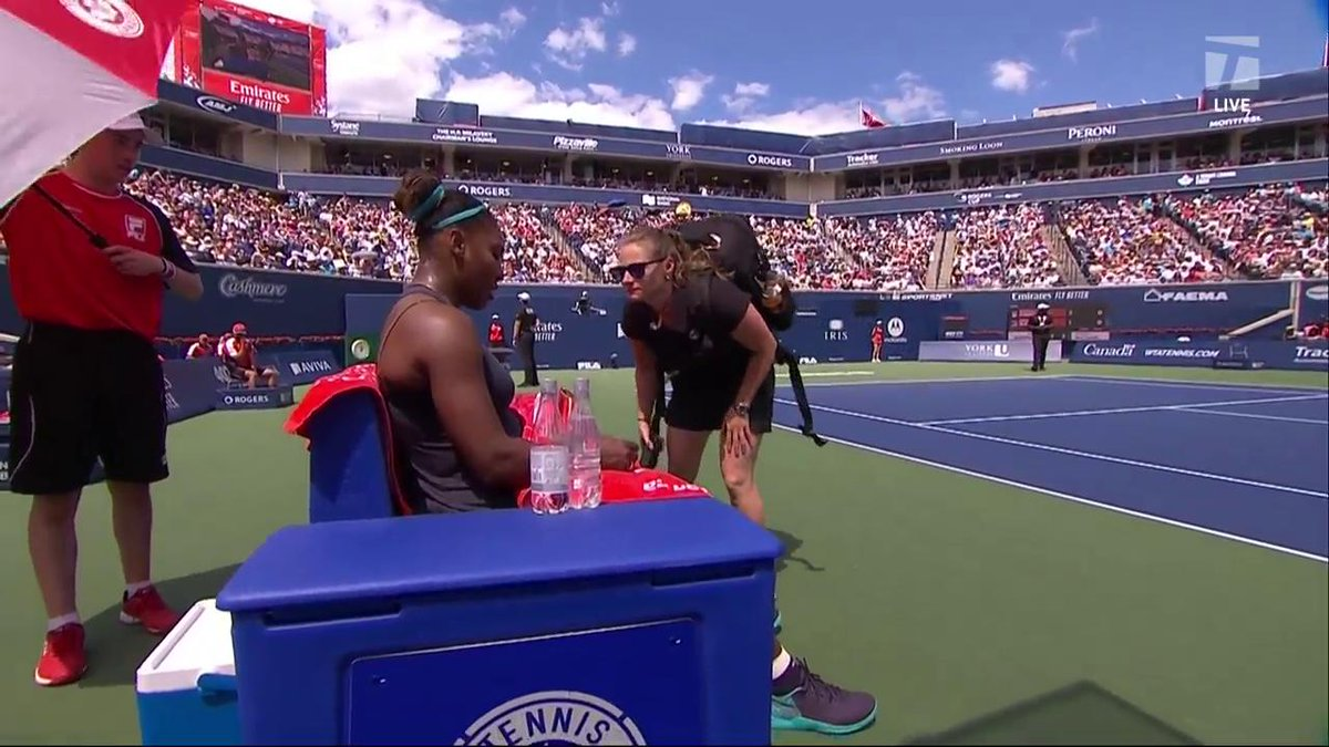 Serena Williams breaks down in tears as she withdraws from Rogers Cup final