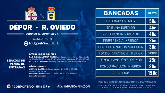 Los precios de las localidades ante el Real Oviedo.