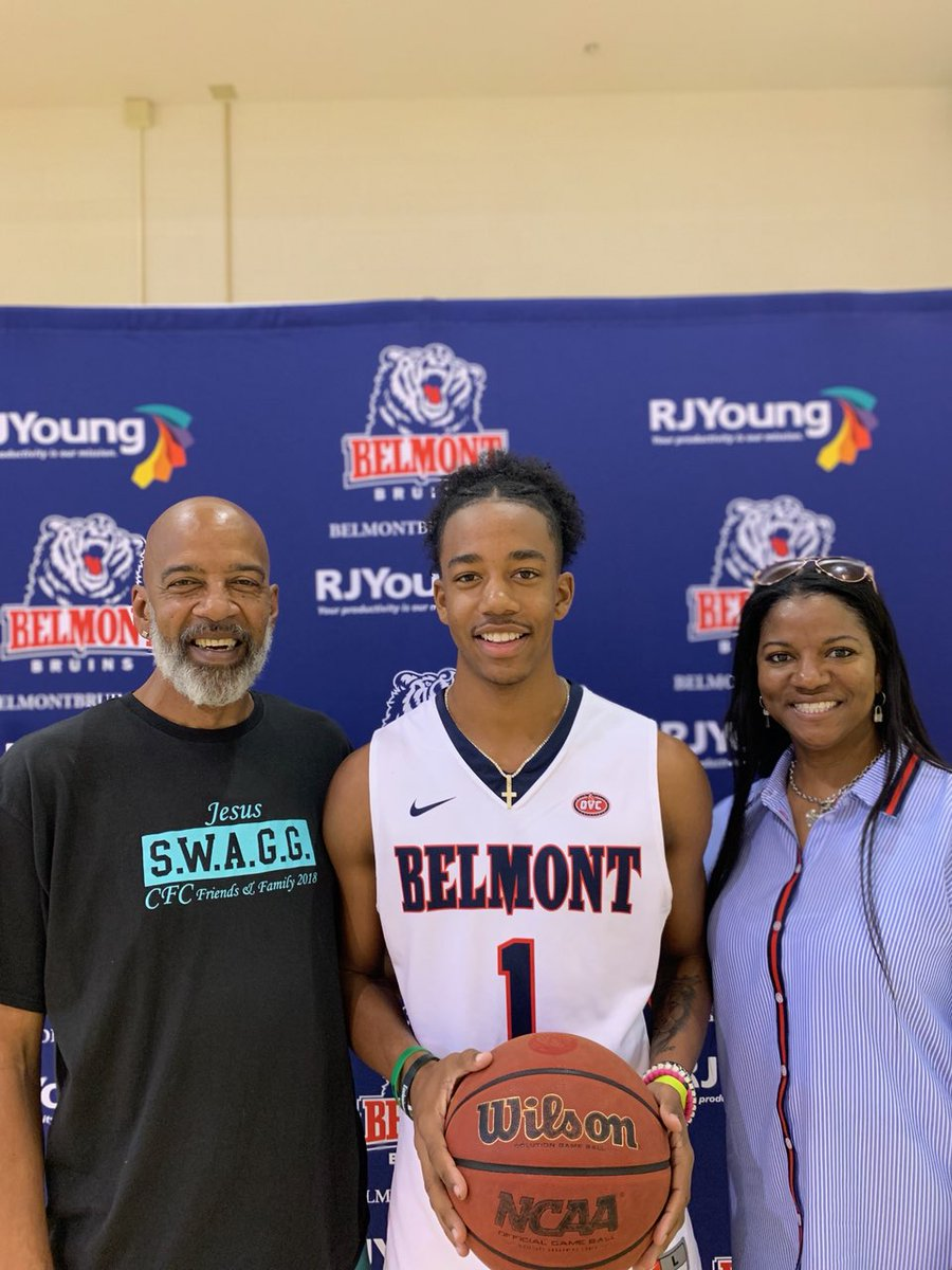 Two proud parents. My boy @jacobiwood17_ looking real good in that @BelmontMBB uniform. 🏀🏀🏀💚💚💚