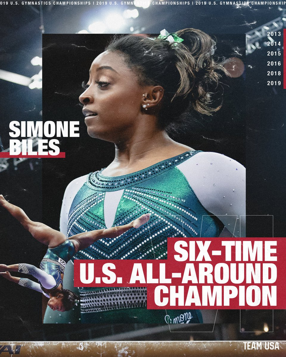 .@Simone_Biles is the first woman in nearly 70 YEARS to win 6 U.S. all-around titles.   That's it. That's the meet.  #USGymChamps