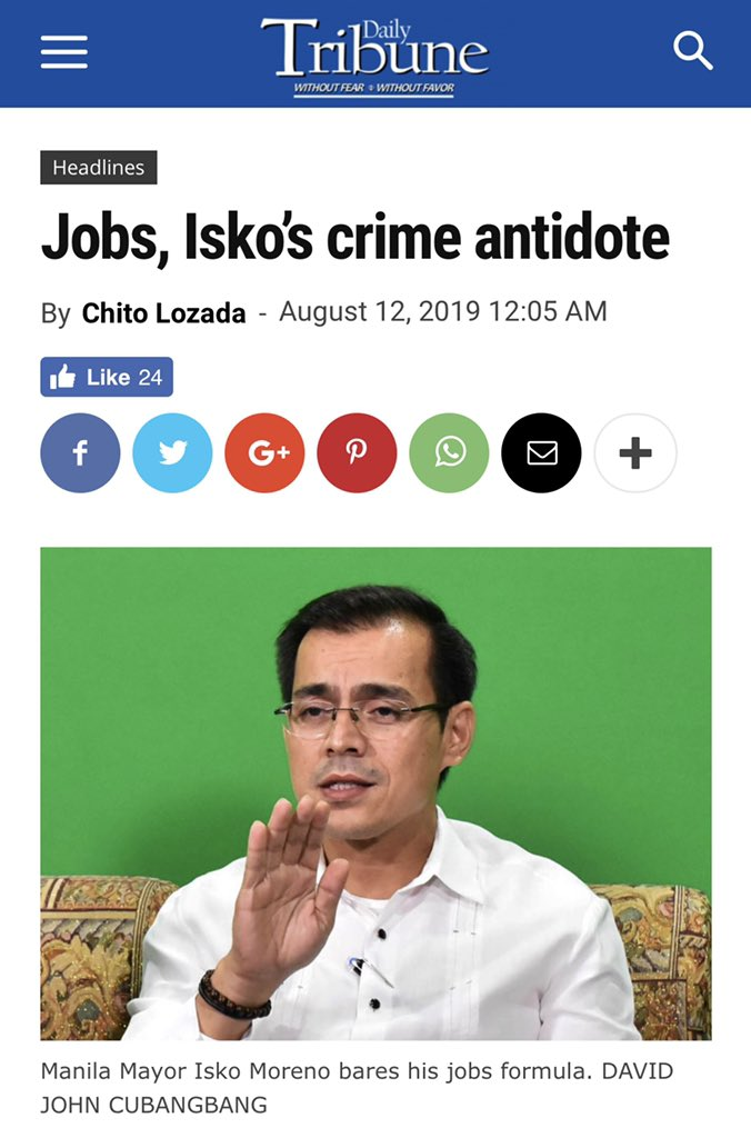 More jobs, more opportunities: Our solution to eradicate both crime and unemployment in the City of Manila 😊 [READ: tribune.net.ph/index.php/2019… via @tribunephl] #BagongMaynila