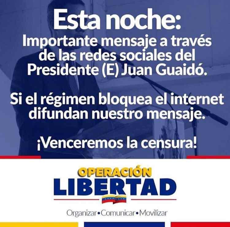 El Presidente (E) @jguaido dará importantes anuncios al país esta noche.Síguelo por sus redes sociales y difunde este mensaje.¡Venzamos la censura!