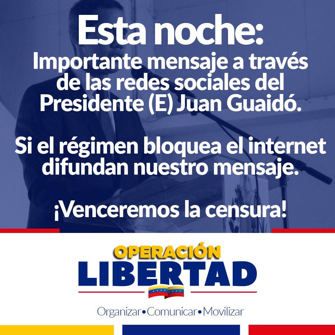 ¡Importante!Todos atentos a la información que dará el Presidente (E) Juan Guaidó a través de sus redes sociales @jguaido ¡Seguimos Venezuela!