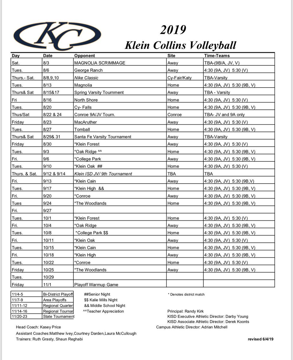 Here's our **UPDATED fall schedule!! We added two new dates, the Santa Fe Tournament. We would love to see you there, thank you for all of your support.  #TigersTakeover #KCVB <br>http://pic.twitter.com/nMywJh4BGm