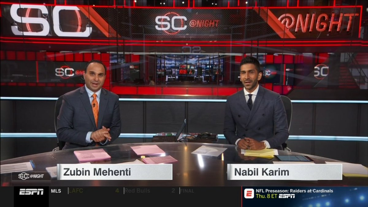 On @espn right now! Zubin Mehenti and @NabilKarimESPN anchoring @SportsCenter together! #SCatnight @SAinSports