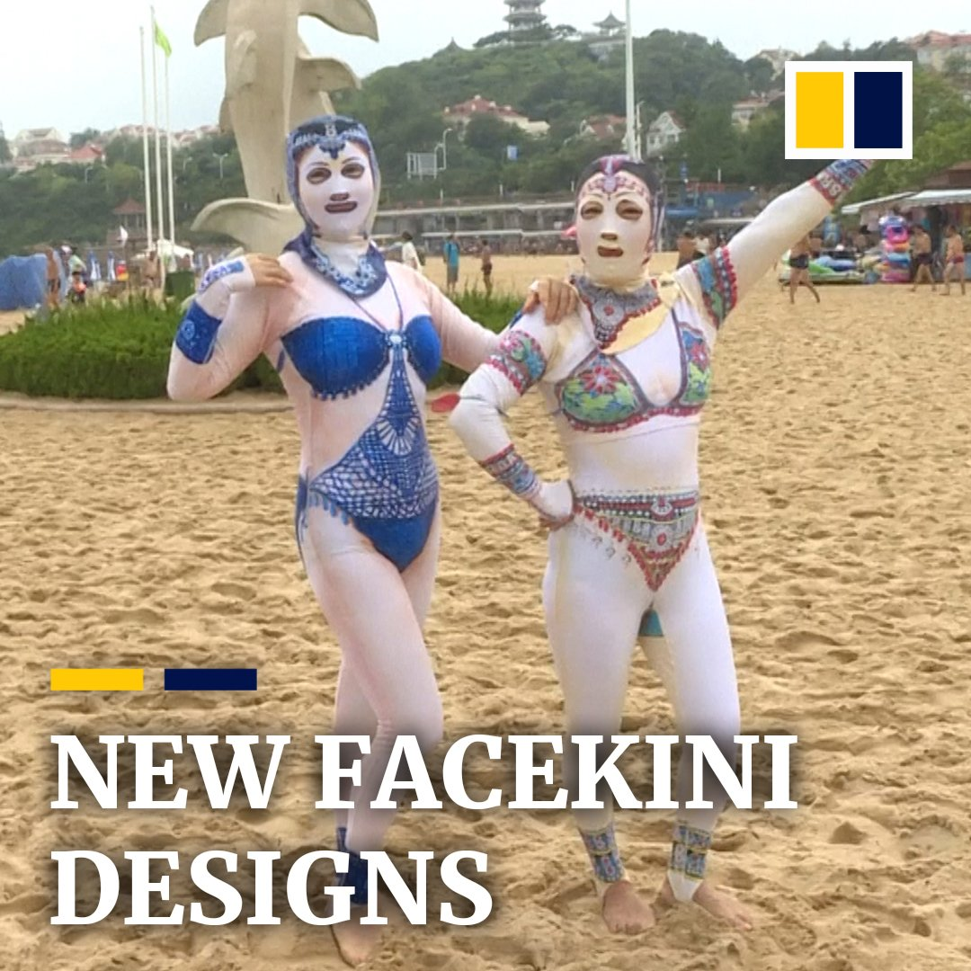 Chinese beachgoers can now protect their skin with these revamped facekinis.