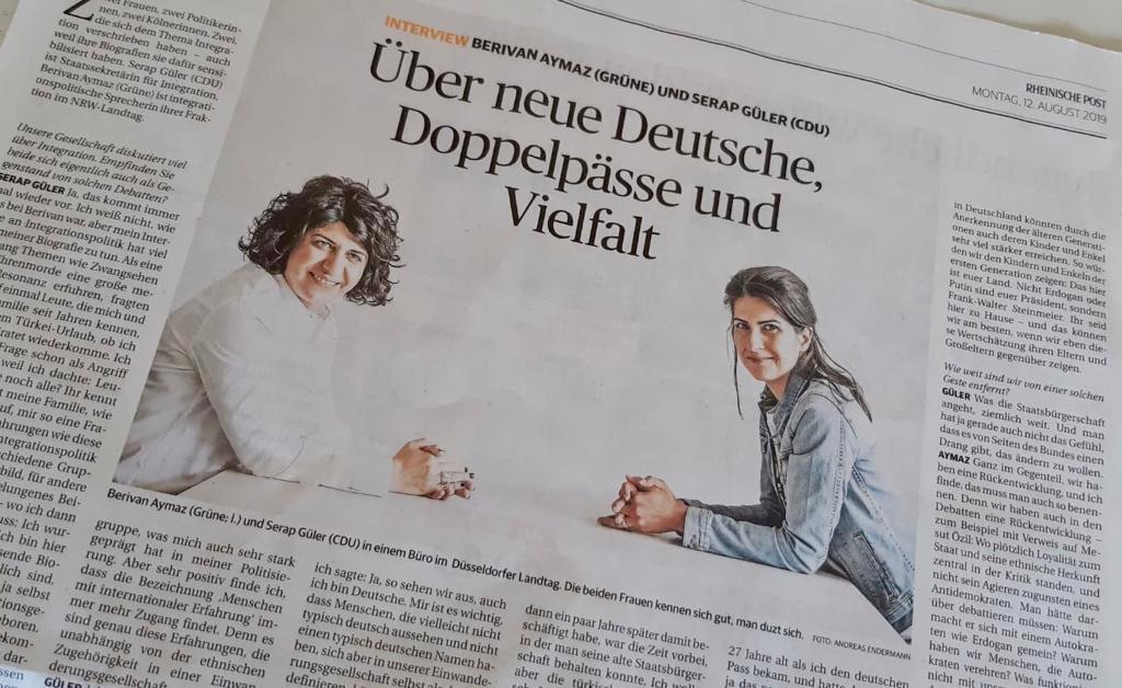 Heute in der @rponline im Doppelinterview mit @SerapGueler über #NeueDeutsche, #Doppelpässe und #Vielfalt. Und: Warum ich finde, dass wir eine fatale Rückentwicklung in der Debatte um Mehrstaatlichkeit haben. rp-online.de/politik/deutsc…