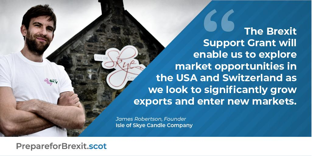 We don't want to let the current economic uncertainty slow down our plans for international growth. James Robertson, Isle of Skye Candles. Need help to #PrepareForBrexit? We can offer advice & support ➡️ow.ly/14ef50vpp0g