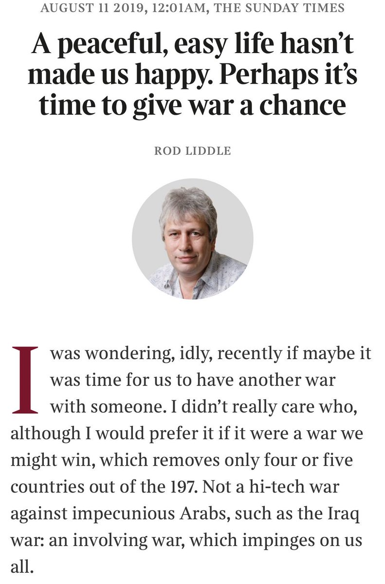 Satire Serious Sunday Times Prints Column Asking To Give War A
