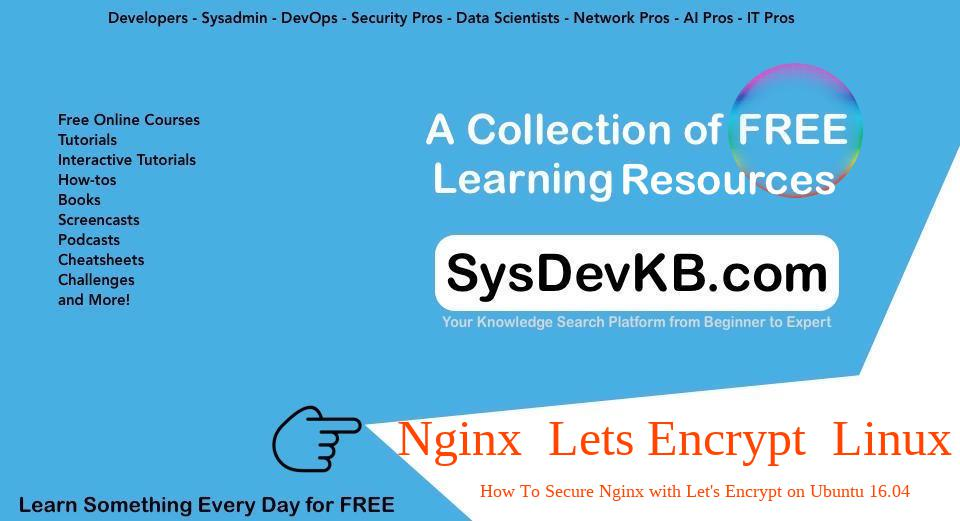 Check: How To Secure Nginx with Let'