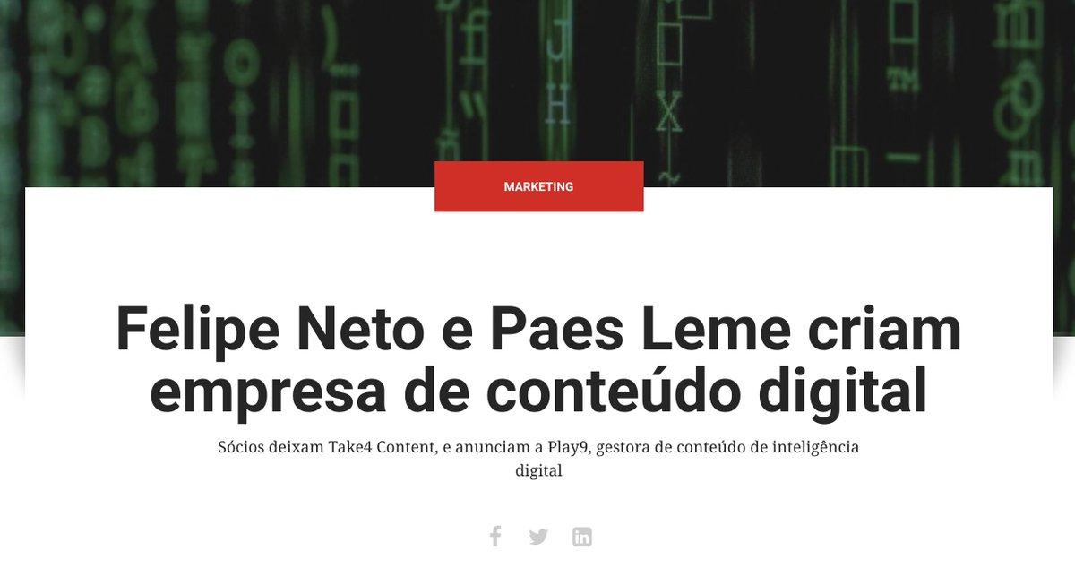 Nova empreitada cheia de desafios!Leia mais sobre a Play9 e nossos novos negócios no mercado digital.https://www.meioemensagem.com.br/home/marketing/2019/08/12/felipe-neto-e-paes-leme-apresentam-play9.html…