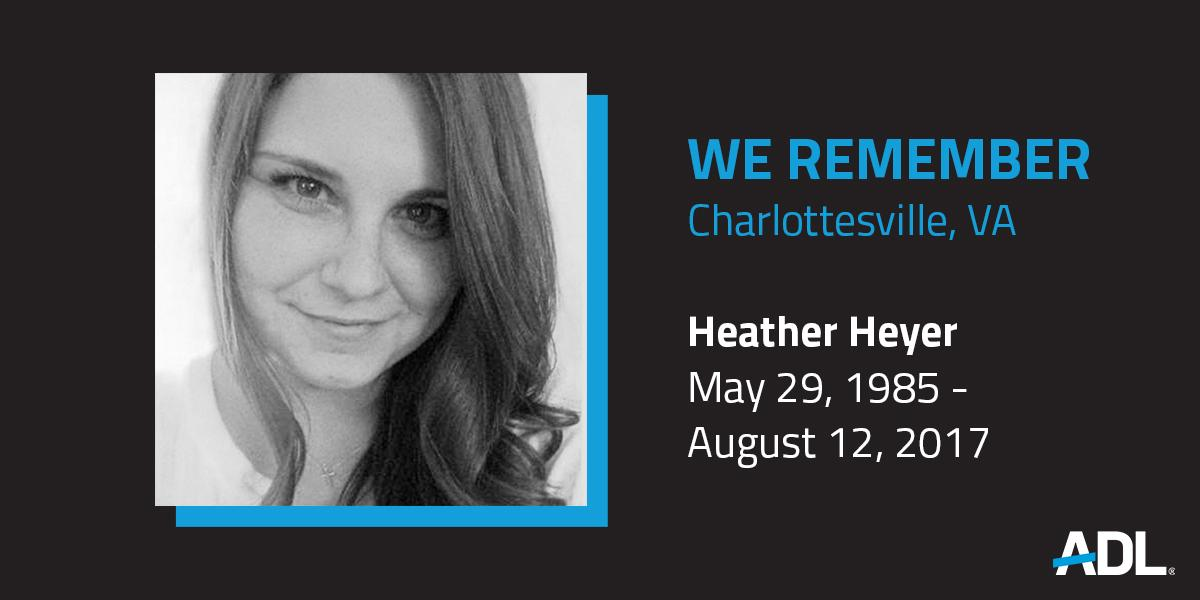Two years ago, Heather Heyer was tragically murdered while standing against white supremacy and hatred. Today, the fight against bigotry, hate and violence in all forms continues. We honor her memory and we recommit ourselves to fighting for a better future. #Charlottesville<br>http://pic.twitter.com/xCTtE5ugBl