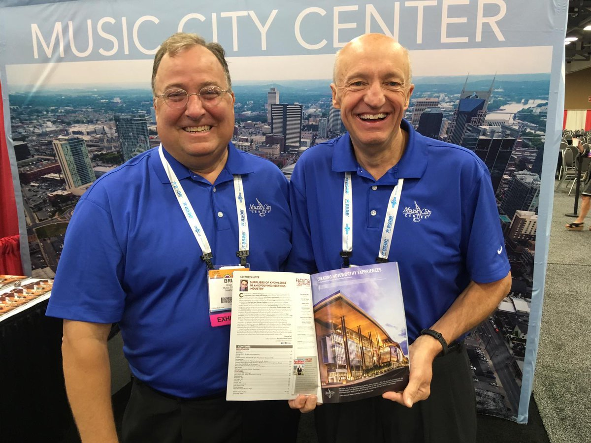 Great shot, @MeetMusicCity! Well go pic-for-pic, with a shot of two of #Nashvilles #meetings & #events superstars: #FandDmag Prime Site Award-winning @NashvilleMCC President & CEO Charles Starks (r), & Brian Ivey, VP Sales & Marketing. #ASAE19 #eventprofs @cbusconventions twitter.com/MeetMusicCity/…