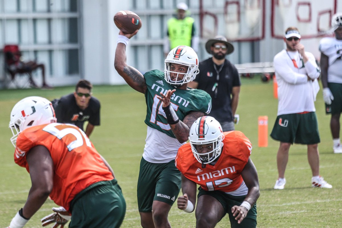Miami has its QB. Jarren Williams will get the start against Florida after beating out Tate Martell and N'Kosi Perry. https://247sports.com/college/miami/Article/Miami-Hurricanes-Football-Jarren-Williams-named-the-starting-quarterback-vs-Florida-134384551/ …