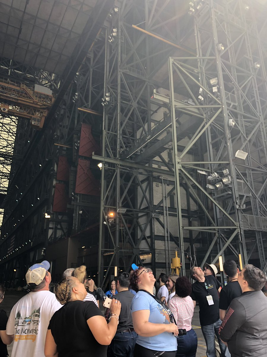 Today, podcasters are getting a behind-the-scenes look during a #NASASocial tour of @NASAKennedy! Here, theyre looking up at the Vehicle Assembly Building — where we'll stack the @NASA_SLS rocket for #Artemis missions to the Moon and Mars.