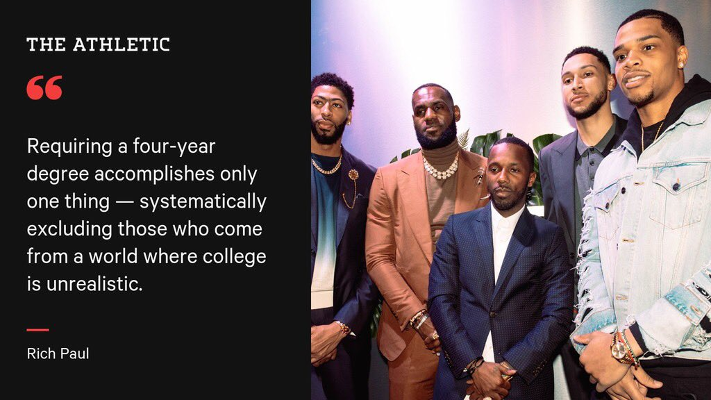 """Agent Rich Paul authors powerful piece in @TheAthletic on so-called """"Rich Paul Rules"""" — NCAA's new certification requirement for agents to hold a bachelor's degree. theathletic.com/1128759/2019/0…"""