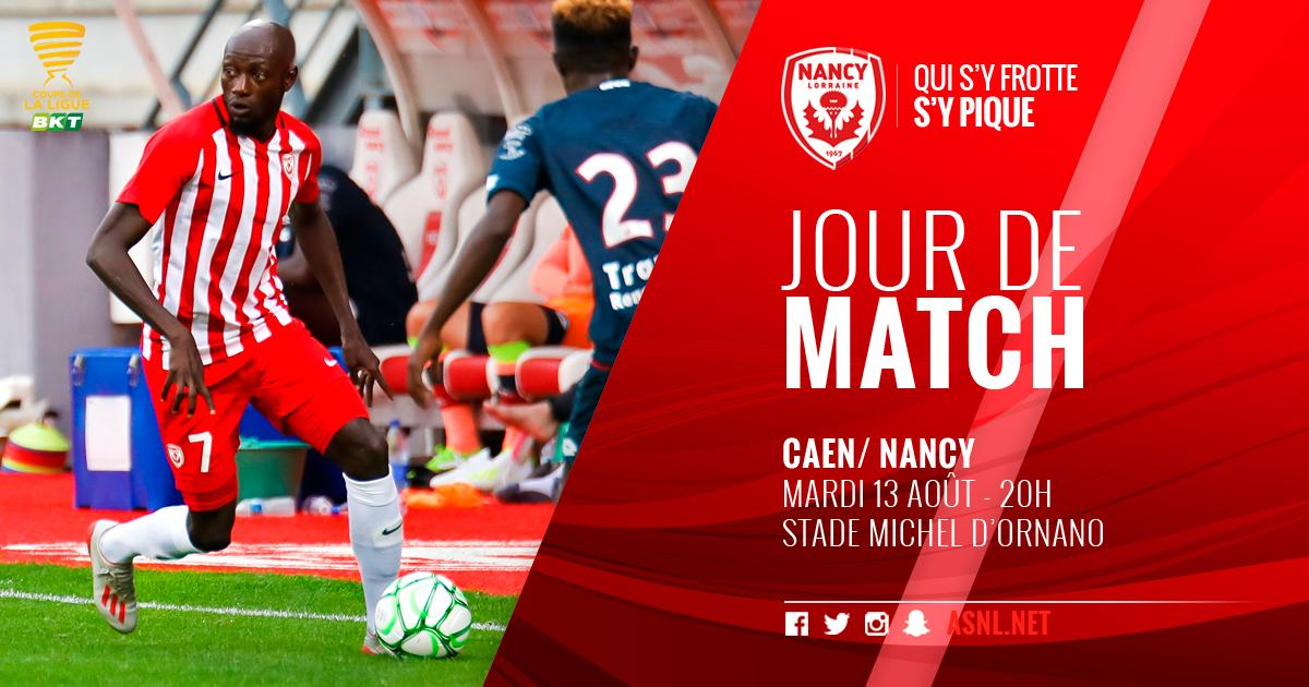 1er tour de la @CoupeLigueBKT   @SMCaen    Stade Michel-D'Ornano  20h  Foot+   @asnlofficiel &  http:// asnl.net      #SMCASNL <br>http://pic.twitter.com/zBknEYLXm7