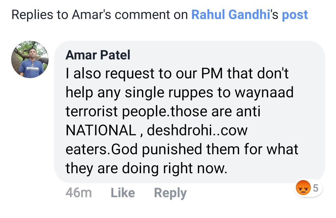 A sanghi മൈരൻ's comment from @RahulGandhi's facebook post. RSS supporters like Amar Patel is spreading hate against Kerala all over the country.   #StopHateCampaignAgainstKerala #KeralaFloods  #SupportKerala