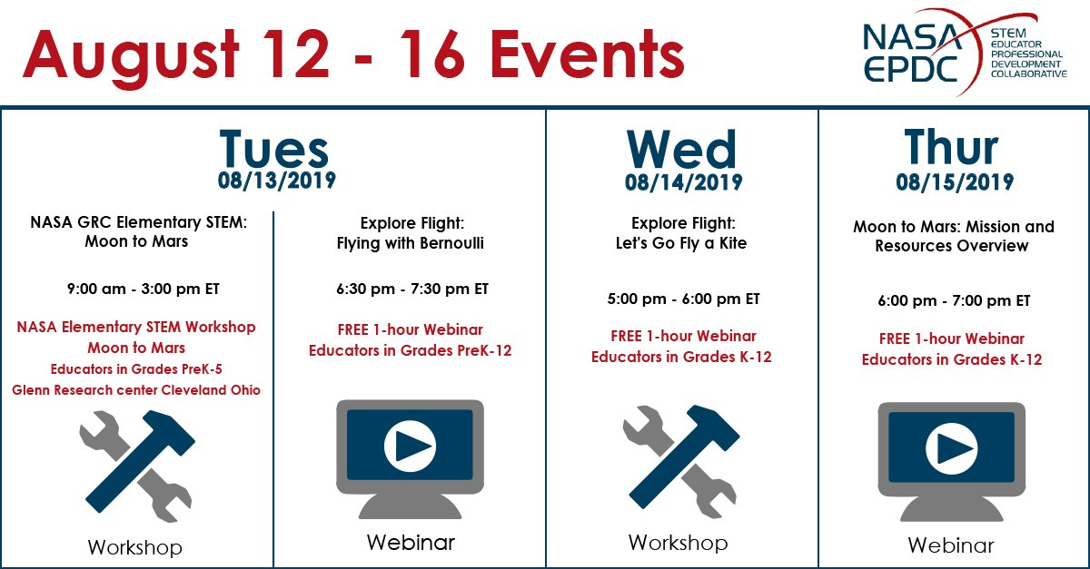 Dont miss this weeks webinar and workshop! Sign up through our website: txstate-epdc.net/events/ #NASA #EPDC #STEM #Educators