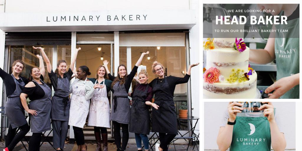 The awesome @LuminaryBakery who recently featured in @BritishVogue as part of #MeghanMarkle's #ForcesForChange issue are looking for a Head Baker to join their empowering team👩🍳Find out more👉    https://t.co/BkFtLGbzDu cc @CookerySchool @BreadAngels @CClarkAcademy @Claire_Clark https://t.co/JF20FnuLh9