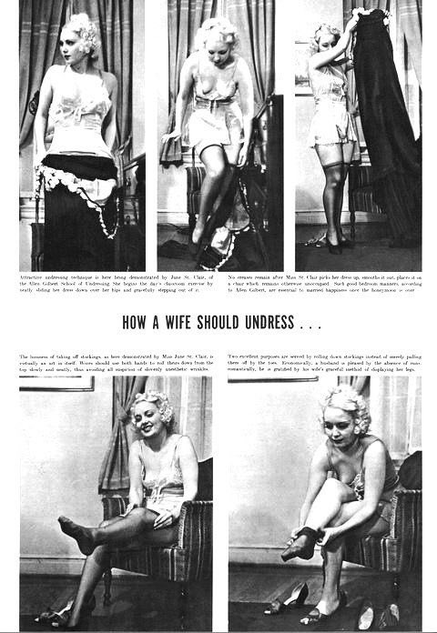 """In 1937, Allen Gilbert founded The """"School of Undressing"""" in Manhattan. Life Magazine ran a story on the school and featured this photo spread, staring burlesque performers Connie Fonzlau June St. Clair, on how a wife should and should not undress.     https:// time.com/3456965/how-a- wife-should-undress-dubious-advice-from-1930s-strippers/  … <br>http://pic.twitter.com/lwQAbR1APg"""