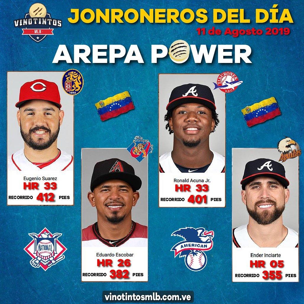 🇻🇪🇻🇪⚾😎💪AREPA POWER DEL 11 DE AGOSTO 💪😎⚾🇻🇪🇻🇪 Los de #Venezuela destacados en materia de #vuelacercas en la #MLB el día de ayer: Ronald #Acuña, Eugenio #Suárez, Eduardo #Escobar y Ender #Inciarte.