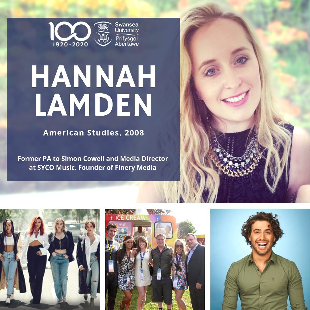 PA to @SimonCowell ✅ Media Director at @syco ✅ Founder of @finerymedia, a digital media & talent agency ✅  @SwanseaUni alumna Hannah Lamden has an impressive CV, and we were lucky enough to talk to her about it!  📖 SAIL 2019 | https://t.co/aghZn2NpvU #OurSwansea https://t.co/9jx8xTKCkN