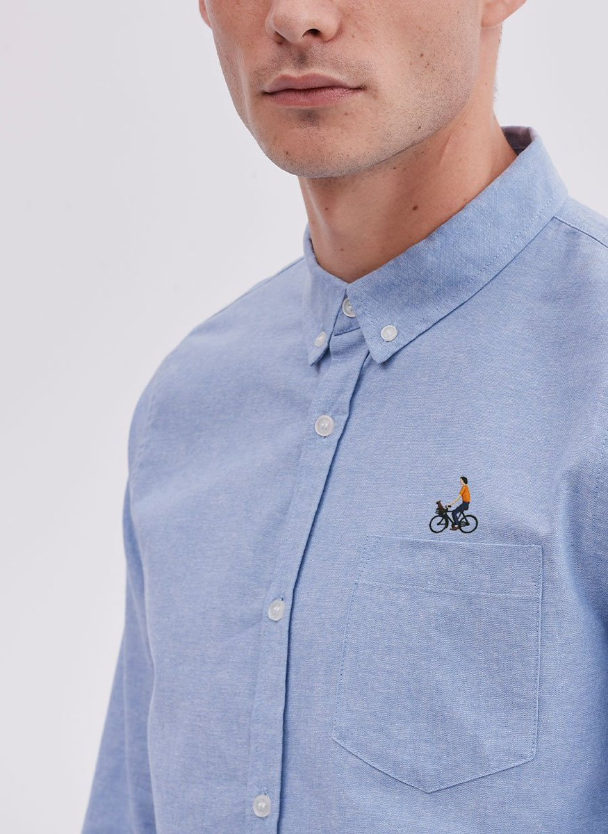 Monday Blues - its a vicious cycle...button down embroidery oxfords now in bit.ly/PercivalBicycl…
