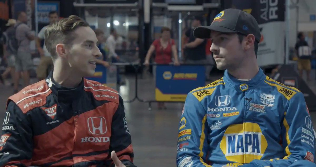 Flashback to the @hondaindy when @alexanderrossi sat down with Olympian @Adaripp before his two-seater ride. Was great to have you with us, Adam. Hope you join us at another race soon! 🎥: Catalyst 317 #AllAndretti #IndyCar @indycar