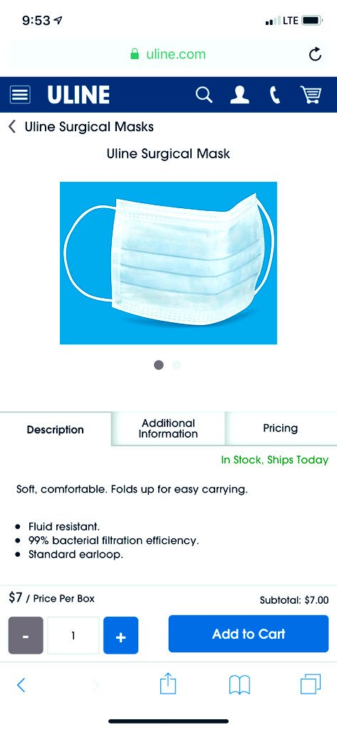 uline surgical mask