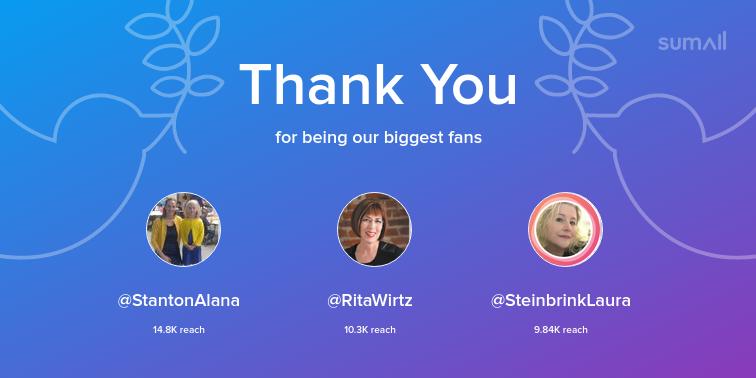 Our biggest fans this week: StantonAlana, RitaWirtz, SteinbrinkLaura. Thank you! via sumall.com/thankyou?utm_s…