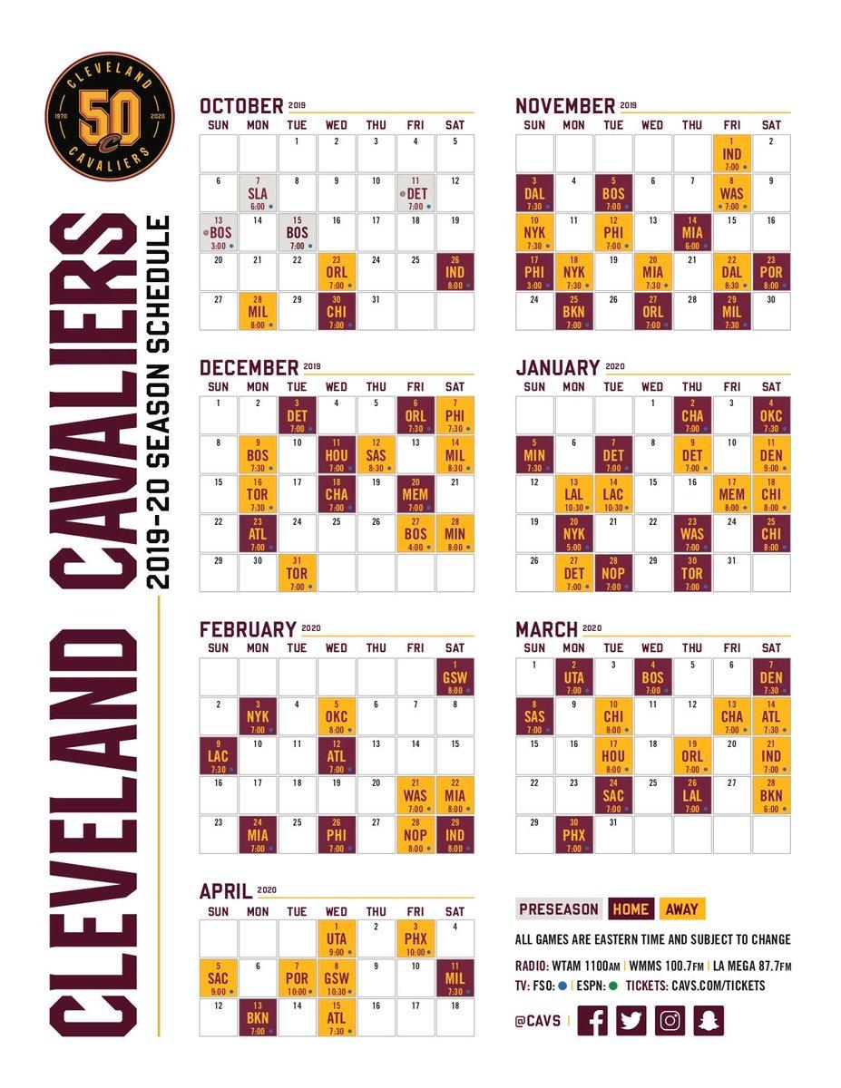 Cleveland Cavaliers Schedule 2019-20 NBA Season
