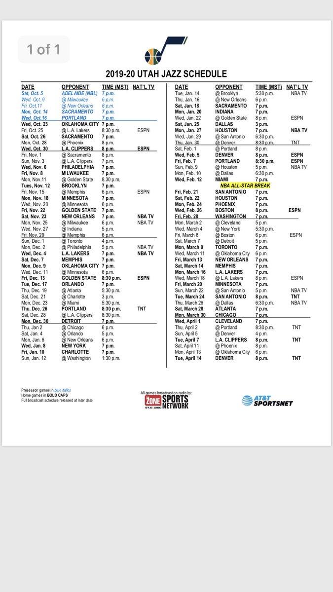 graphic about Utah Jazz Schedule Printable known as kristen kenney (@kristenkenney) Twitter