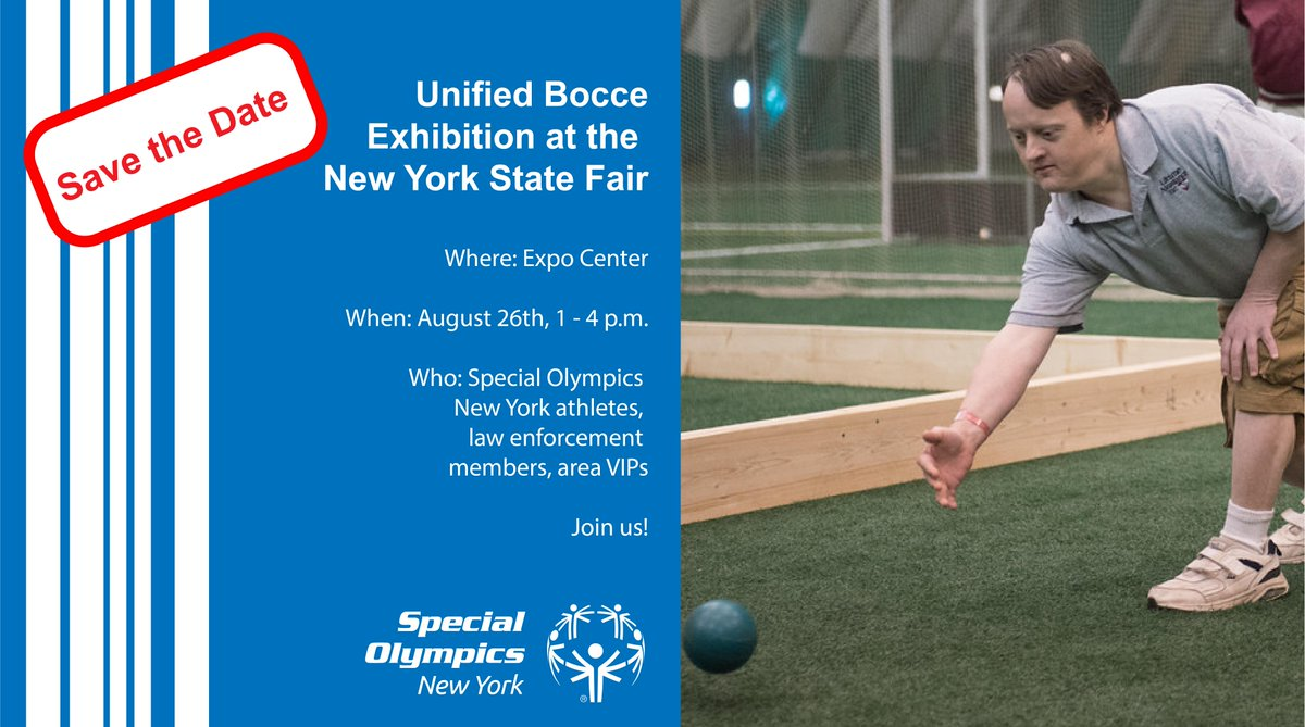Our Unified Bocce exhibition is coming soon! If youre a Special Olympics New York athlete and youd like to participate, email Sean Coakley at scoakley@nyso.org before Friday. See you there! #PlayUnified @NYSFair