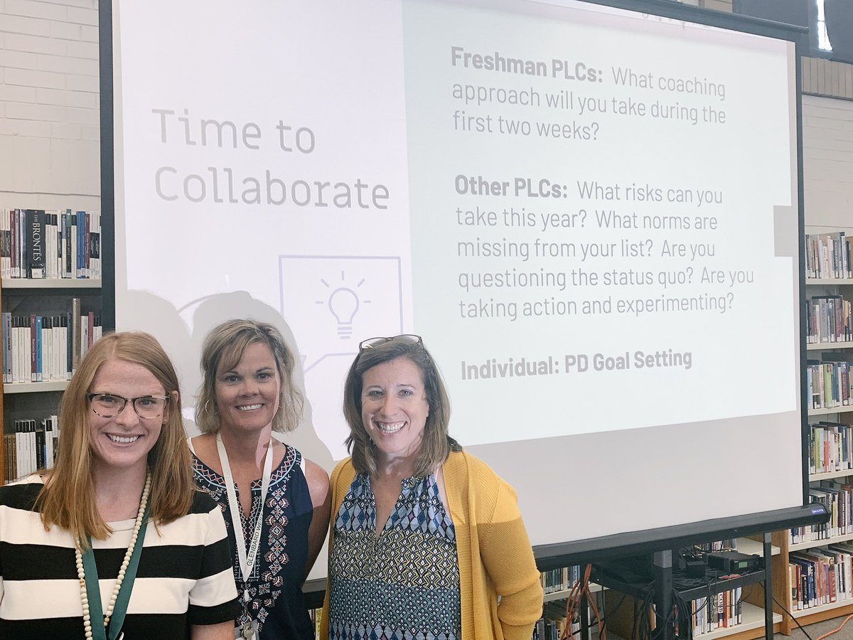 Nessa Slowinski, Jeanne Keefe, and Kelly Hass present at teacher institute on effective PLCs. Go West!