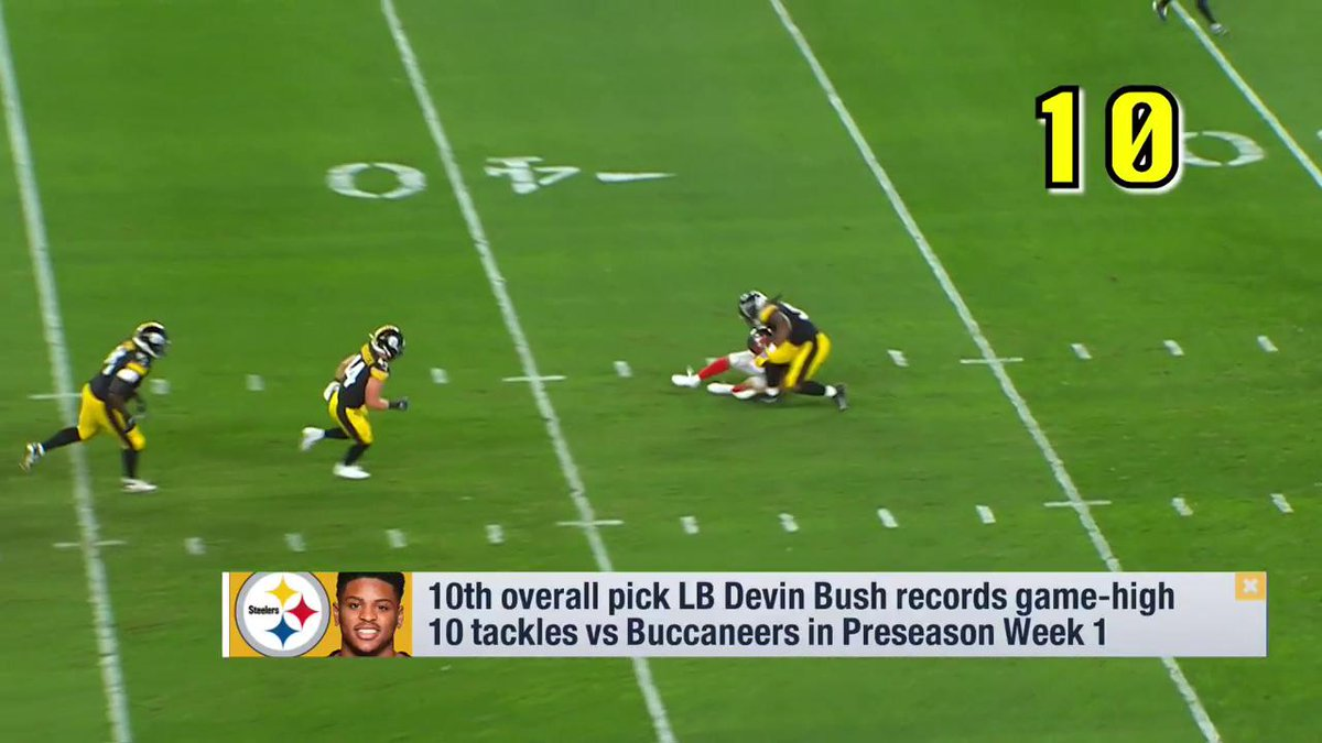 """The breakout star of the weekend was Devin Bush. He had ten tackles the first time he stepped on an NFL field and was seemingly in on every play. Too early to get excited? Nope. He's the real deal."" - @PSchrags on @steelers rookie LB @_Dbush11s NFL debut."