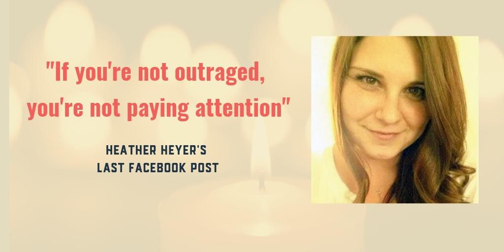 Today we remember Heather Heyer and hold space for all who stood in opposition to white supremacists in #Charlottesville, Virginia two years ago. We commit to the fight against racism and hate for a future where we can live freely. Rest in peace, Heather. #EndWhiteSupremacy<br>http://pic.twitter.com/f8vxli5mva