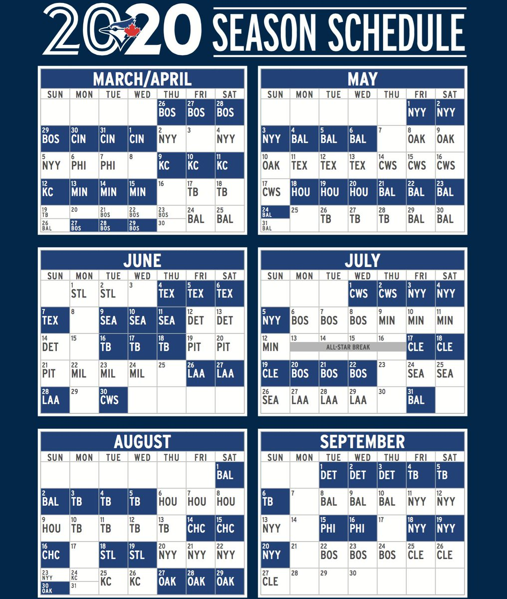 Cubs Schedule 2020 Printable.Ben Nicholson Smith On Twitter Your 2020 Bluejays