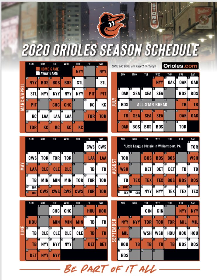 Orioles Home Schedule 2020.Jon Meoli On Twitter The Full Orioles Schedule For 2020