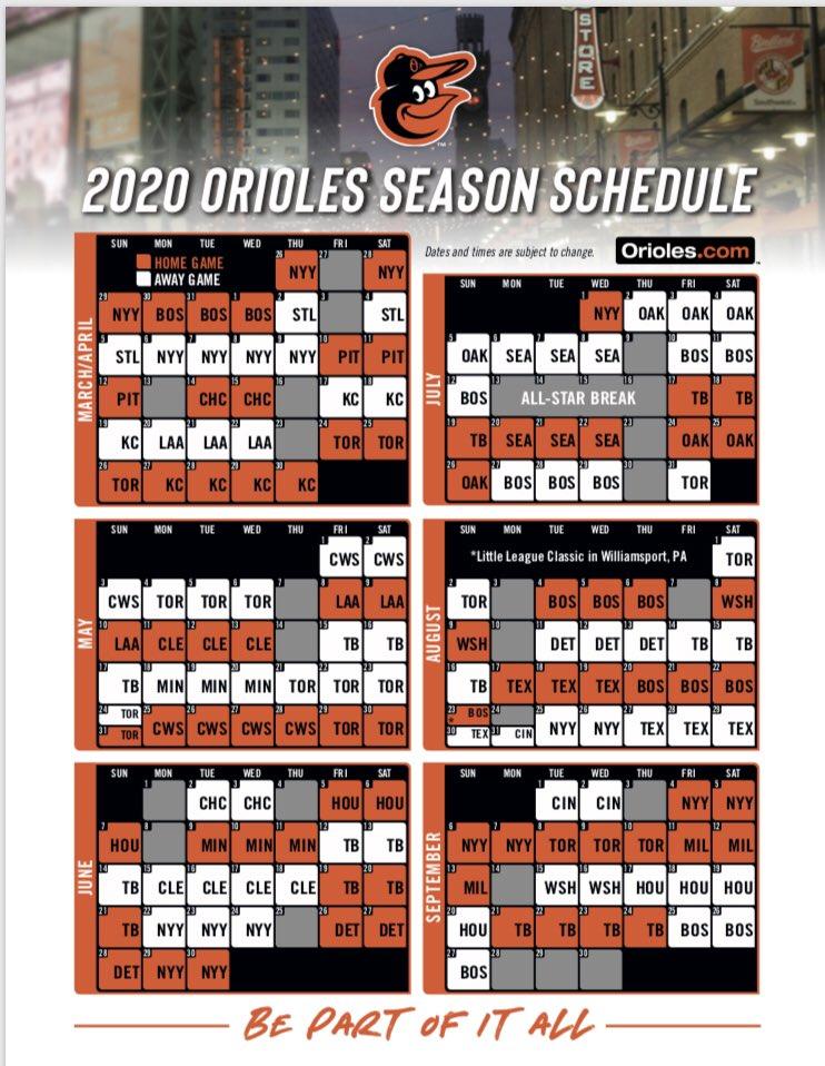 Orioles Schedule 2020.Jon Meoli On Twitter The Full Orioles Schedule For 2020