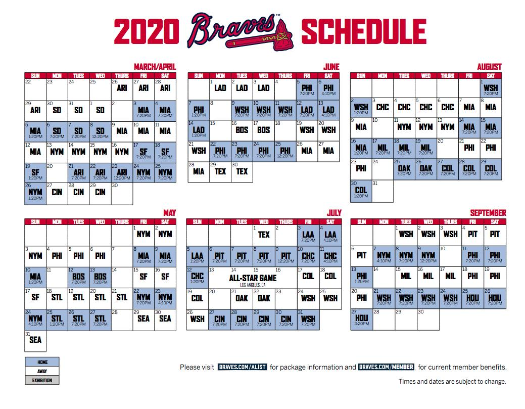Schedule A 2020.Grant Mcauley On Twitter Here S The Full 2020 Braves